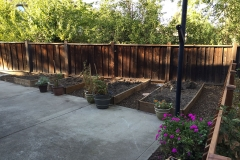 side yard and planter beds