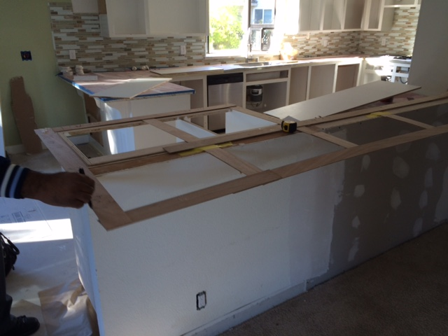 Getting ready to put the granite down